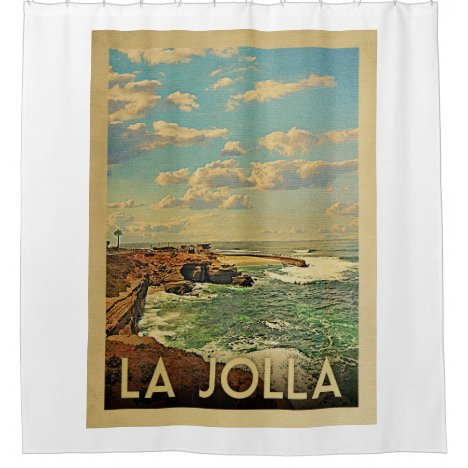 La Jolla California Vintage Travel Shower Curtain