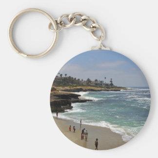 La Jolla Cove Beach Basic Round Button Keychain