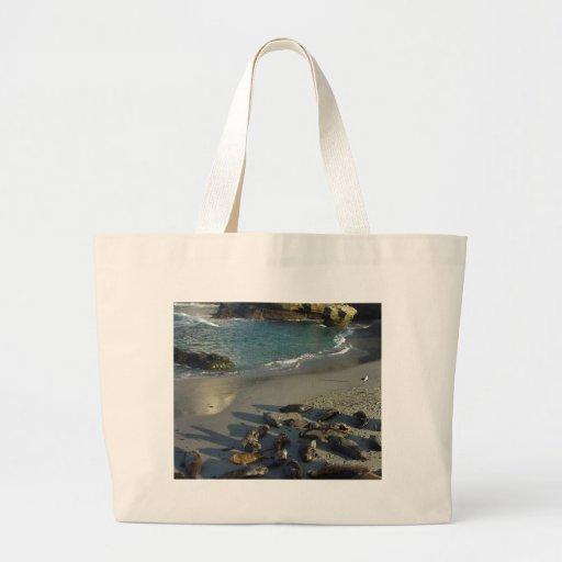 La Jolla Cove Beach Waves Sand Seals Canvas Bag