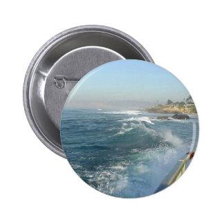 La Jolla Cove Ocean Beach Waves Pinback Button