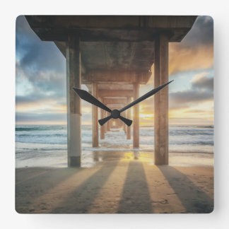 La Jolla, Scripps'S Pier At Sunset | San Diego Square Wall Clock