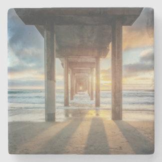La Jolla, Scripps'S Pier At Sunset | San Diego Stone Coaster