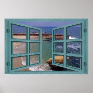 La Jolla Seal Beach 6 Pane Open Window Poster