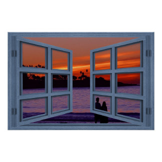 La Jolla Sunset Blue 6 Pane Open Window Poster