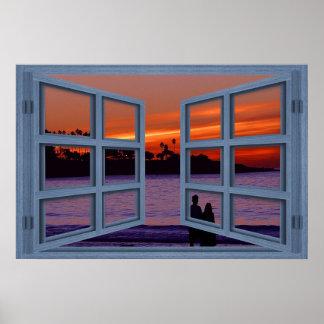 La Jolla Sunset Blue 6 Pane Open Window Poster