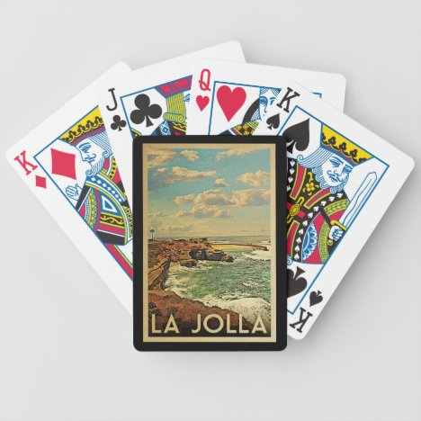 La Jolla Vintage Travel - California Coast Bicycle Playing Cards