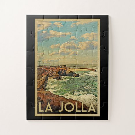 La Jolla Vintage Travel - California Coast Jigsaw Puzzle