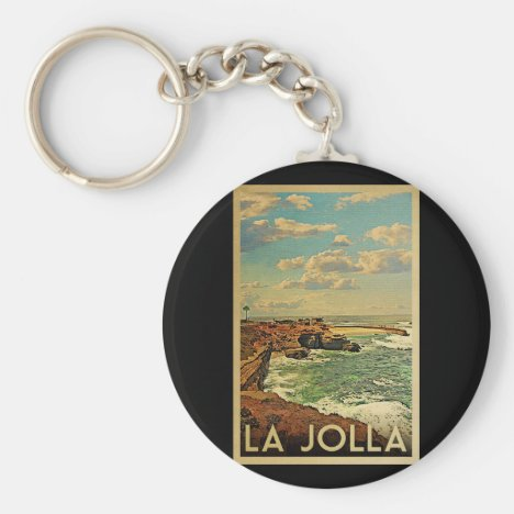 La Jolla Vintage Travel - California Coast Keychain