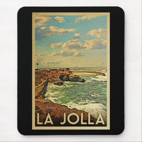 La Jolla Vintage Travel - California Coast Mouse Pad