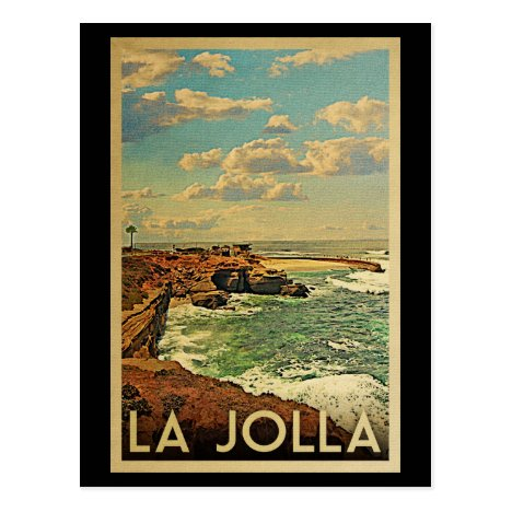 La Jolla Vintage Travel - California Coast Postcard