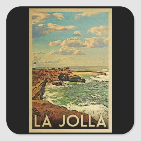 La Jolla Vintage Travel - California Coast Square Sticker