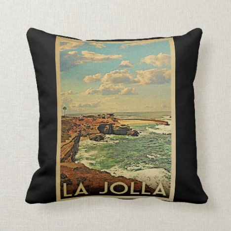 La Jolla Vintage Travel - California Coast Throw Pillow