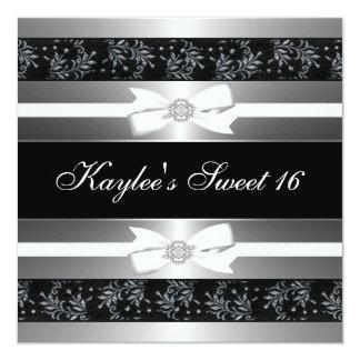 La joya blanca negra arquea cumpleaños del dulce invitacion personalizada