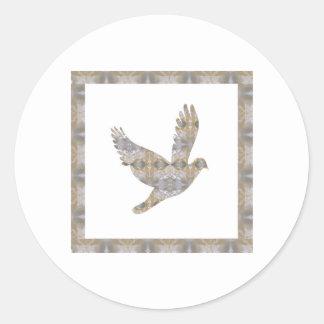 La joya CRISTALINA NVN448 del pájaro afortunado Etiqueta Redonda