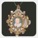 La joya de Gresley, con los retratos miniatura del Pegatina Cuadrada