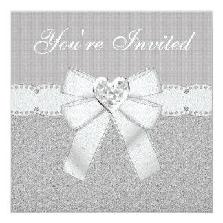 """La joya de plata del corazón de la chispa del invitación 5.25"""" x 5.25"""""""