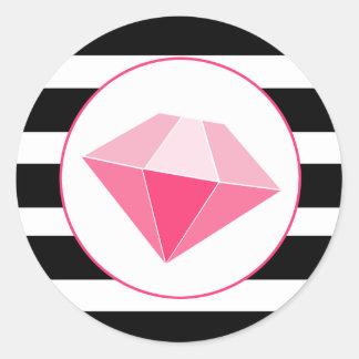 La joya rosada con negro y blanco raya al pegatina