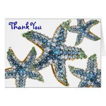 La joyería de las estrellas de mar le agradece tarjeta de felicitación