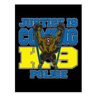 La justicia es la policía que viene K9 Tarjetas Postales