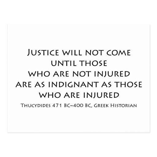 """La """"justicia no vendrá… """" postal"""