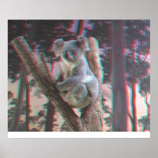 La koala fotogénica presenta para la cámara en 3D Posters