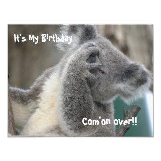"""La koala invita a la fiesta de cumpleaños invitación 4.25"""" x 5.5"""""""