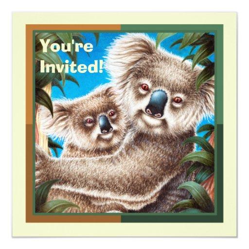 La koala linda embroma la invitación de la fiesta