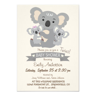 "La koala linda hermana la fiesta de bienvenida al invitación 5"" x 7"""