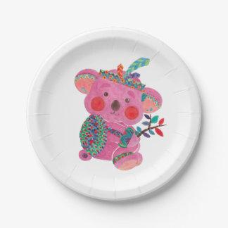 La koala rosada plato de papel de 7 pulgadas