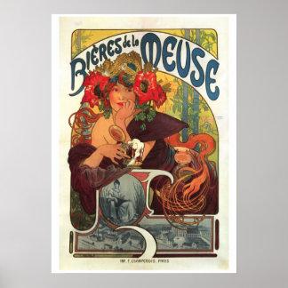 La la Mosa de Bieres del vintage de Alfonso Mucha Poster