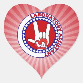 LA LABORATORY ASSISTANT LOGO LOVE HEART STICKER