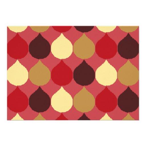La lágrima geométrica poner crema roja de Ikat Comunicados Personalizados