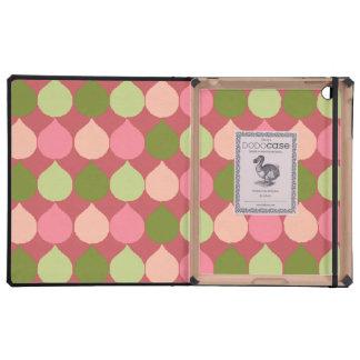 La lágrima geométrica verde rosada de Ikat iPad Cárcasas