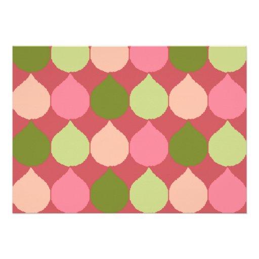 La lágrima geométrica verde rosada de Ikat Comunicados Personalizados