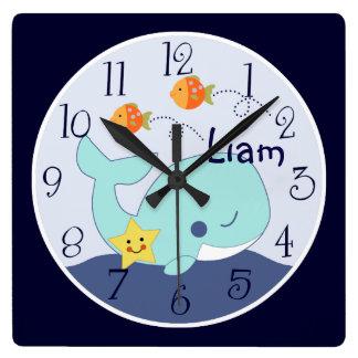 La laguna/la ballena/los pescados azules reloj cuadrado