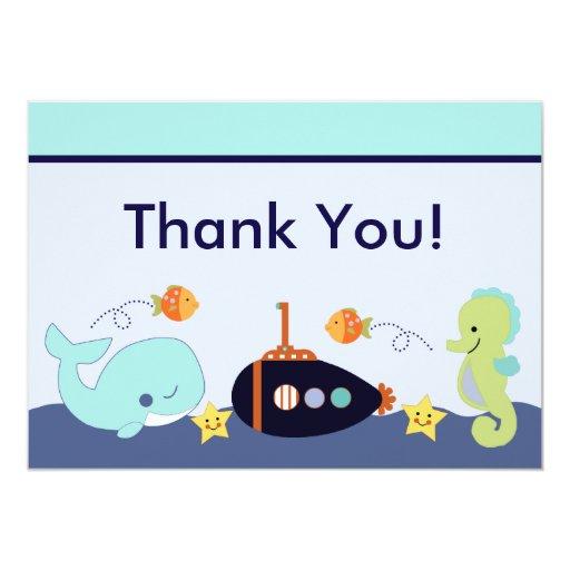 """La laguna/la ballena/Sealife azules le agradecen Invitación 5"""" X 7"""""""