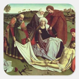 La lamentación sobre el Cristo muerto Pegatina Cuadrada