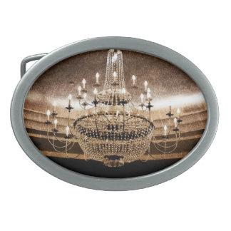 La lámpara cristalina deslumbra la hebilla del hebilla cinturón oval