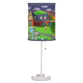 La lámpara de la historia de la puesta del sol de
