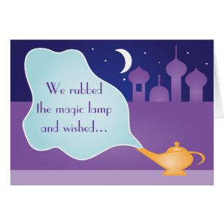 La lámpara mágica de la noche árabe consigue deseo tarjeta pequeña
