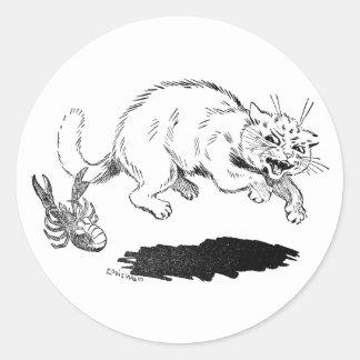 La langosta tiene gato al lado de la cola pegatina redonda