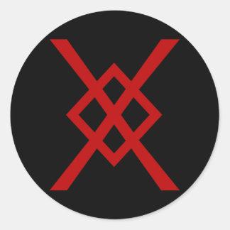 La lanza de Odin, Gungnir (rojo y negro) Pegatina Redonda