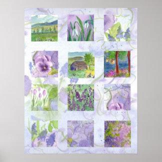 La lavanda coloca arte del collage de la flor de l póster