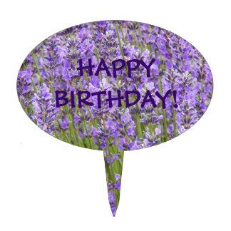 La lavanda florece cumpleaños palillos de tarta