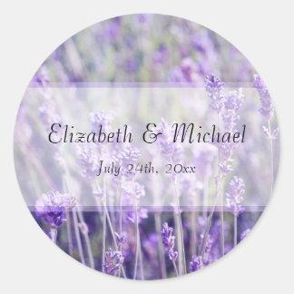 La lavanda florece la etiqueta del favor del boda