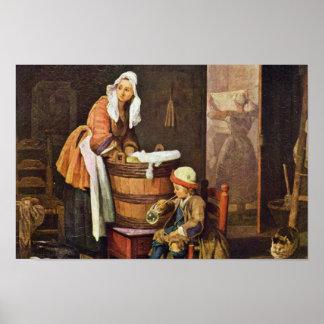 La lavandera por Chardin Jean-Baptiste Siméon Poster