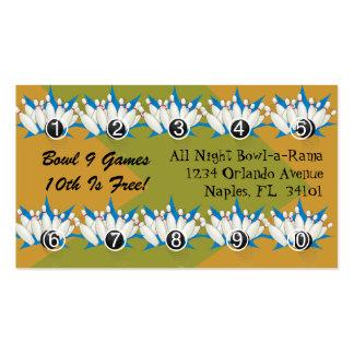 La lealtad de la bolera recompensa tarjetas de tarjetas de visita