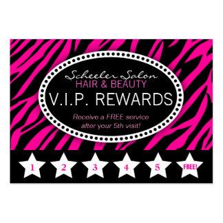 La lealtad rosada del salón del estampado de zebra tarjetas de visita grandes