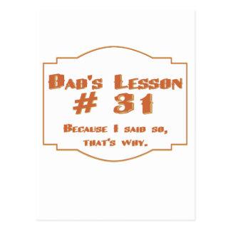 La lección #31 del papá: postales