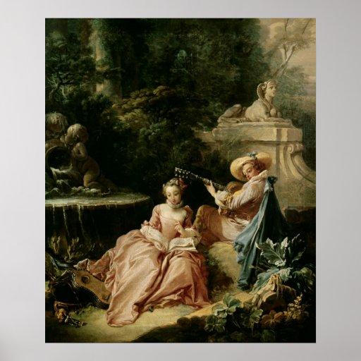La lección de música, 1749 póster